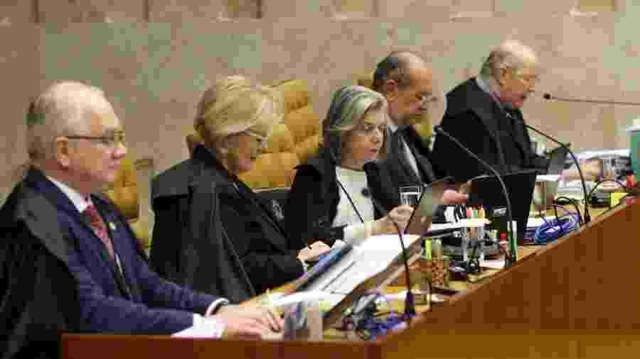 Da esquerda para a direita, os ministros Edson Fachin, Rosa Weber, Carmem Lúcia, Gilmar Mendes e Celso de Mello, durante uma sessão do Supremo Tribunal Federal - Fabio Rodrigues Pozzebom/Agência Brasil