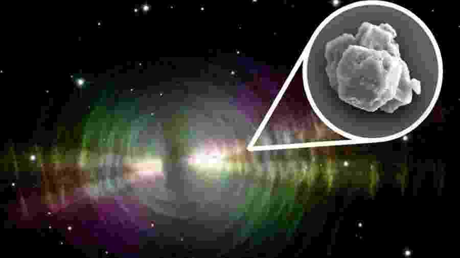 Imagem divulgada pela Nasa mostra exemplo de nebulosa e, em destaque, o grão pré-solar descoberto na Austrália - Nasa/W Sparks/R Sahai/PA