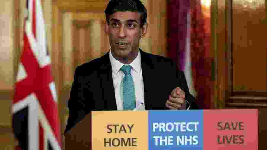 26.mar.2020 - Coronavírus: o secretário do Tesouro do Reino Unido, Rishi Sunak, anuncia novas medidas econômicas - Pippa Fowles/AFP