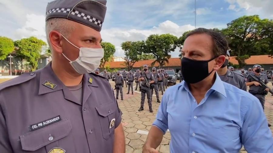 Doria postou vídeo com o coronel Lacerda em inauguração de batalhão em Sorocaba - Reprodução