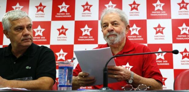 Lula durante reunião do PT em São Paulo