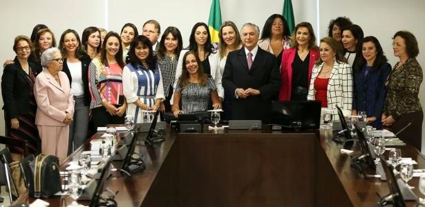 O presidente interino, Michel Temer, após reunião com parlamentares mulheres no Planalto