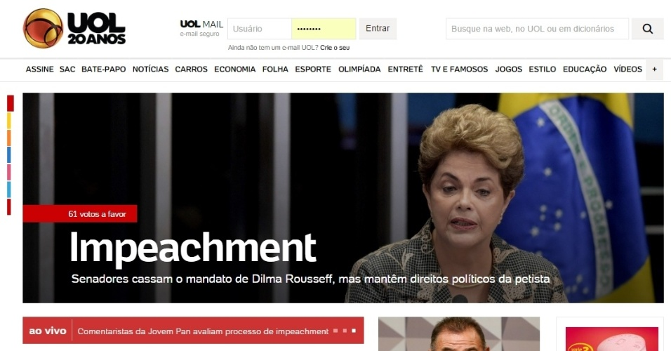 A home-page do UOL