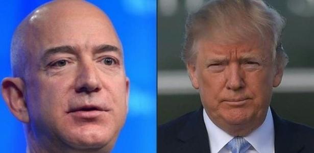 Bezos, fundador da Amazon, e Trump: presidente dos EUA acusa a companhia de pagar pouco ou nenhum imposto