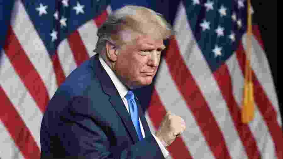 O presidente dos EUA, Donald Trump, no primeiro dia da convenção nacional do Partido Republicano - David T. Foster III/POOL/AFP