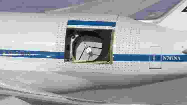 Detalhe do avião Boeing 747SP mostrando o telescópio Sofia - Carla Thomas/Nasa - Carla Thomas/Nasa