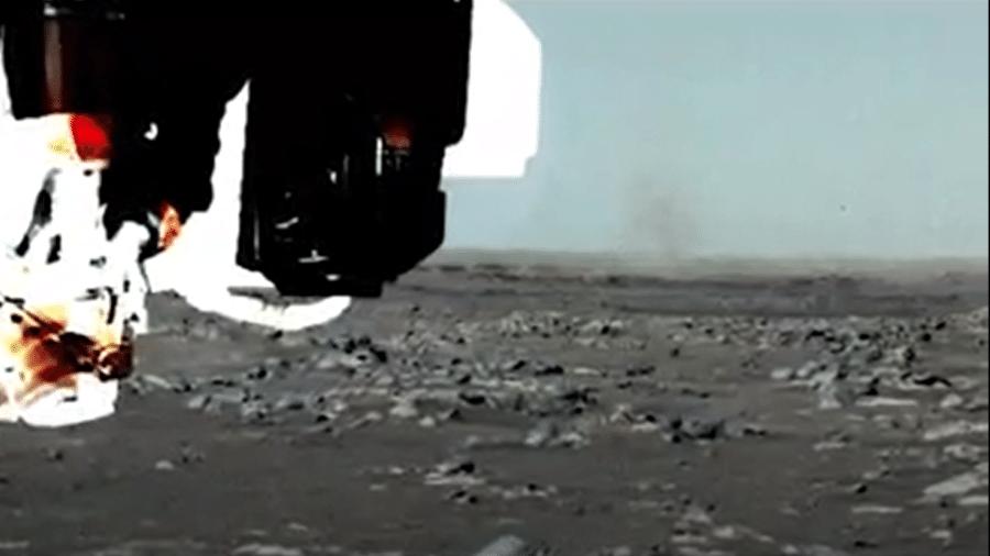 Redemoinho de poeira registrado em Marte pela sonda Perseverance - Reprodução/Nasa