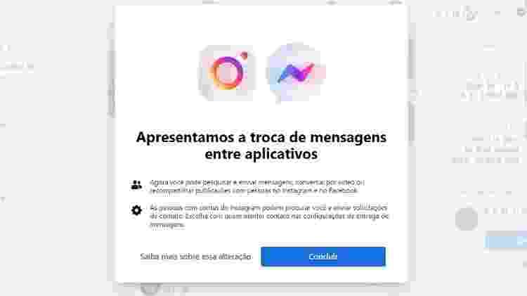 Integração Instagram e Messenger - Reprodução/Facebook - Reprodução/Facebook