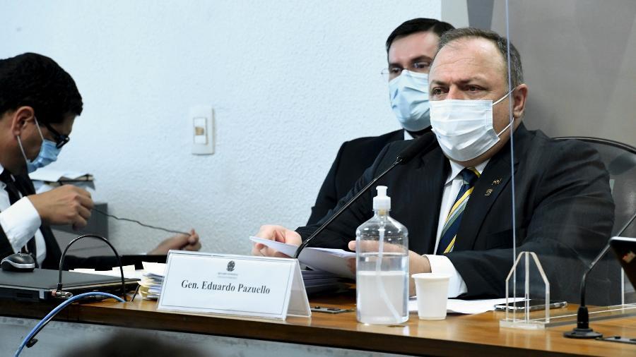 19.mai.2021 - O ex-ministro da Saúde general Eduardo Pazuello presta depoimento à CPI da Covid - Edilson Rodrigues/Agência Senado