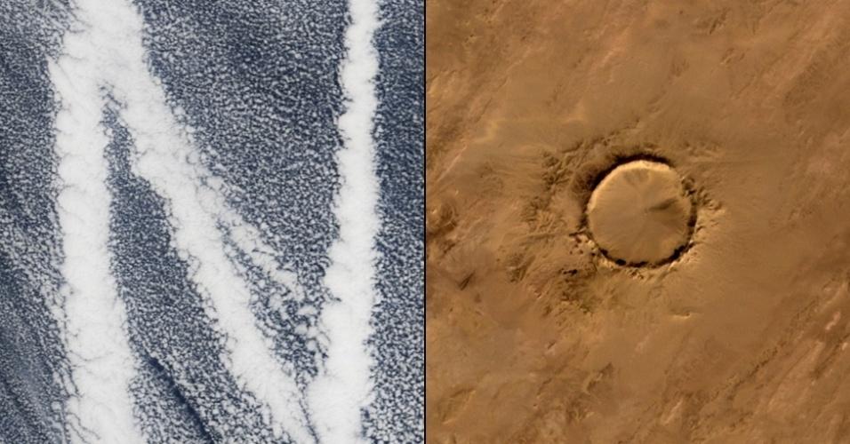 """6.jan.2015 - Rastros de navios no oceano Pacífico formam a letra """"N""""; a cratera de meteoro Tenoumer, na Mauritânia, criou a letra """"O"""""""