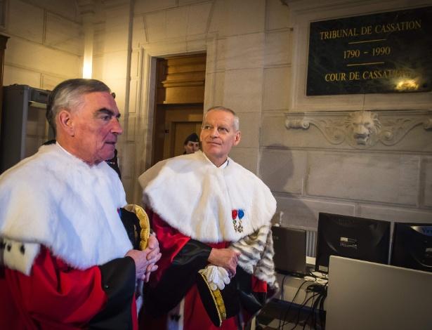Bertrand Louvel e Jean-Claude Marin, magistrados franceses, no Tribunal de Cassação