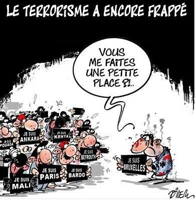 """22.mar.2016 - Charge do cartunista algeriano Ali Dilem repercute os ataques terroristas coordenados à capital da Bélgica, Bruxelas, e relembra outros ataques recentes. No desenho, o belga pede """"um espacinho"""" entre os outros atacados"""