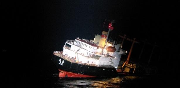 Navio norte-coreano começou a naufragar na quarta-feira (11)