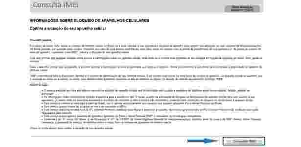 Site Consulta IMEI  - passo 1 - Reprodução - Reprodução