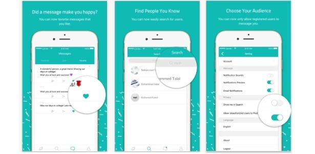 """Aplicativo Sarahah, que permite comentários de """"feedback"""" anônimos destinados ao usuário"""