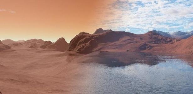 Esta é a imagem mostra o Marte moderno (esquerdo) seco e estéril, em comparação com a mesma cena há mais de 3,5 bilhões de anos coberto de água (à direita)