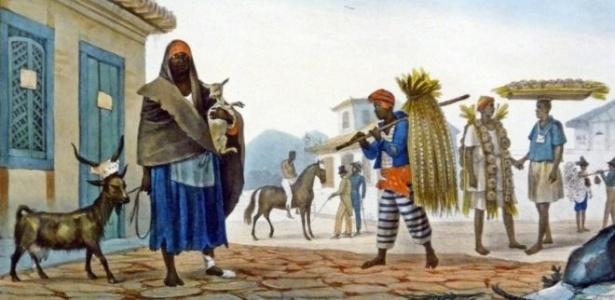Cena urbana no RJ escravocrata do século 19, pintada por Jean-Baptiste Debret - Acervo Espaço Olavo Setubal/Itaú Cultural