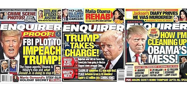 Capas da revista de celebridades National Enquirer exaltando o presidente Donald Trump