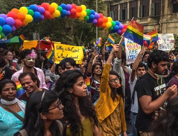 Parada do Orgulho Gay, em Nova Déli, na Índia