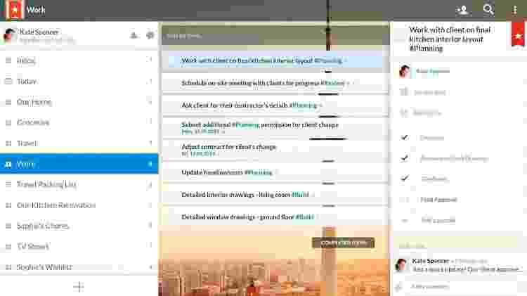 Wunderlist compartilha lista de tarefas e permite organizar planos para o futuro - Reprodução