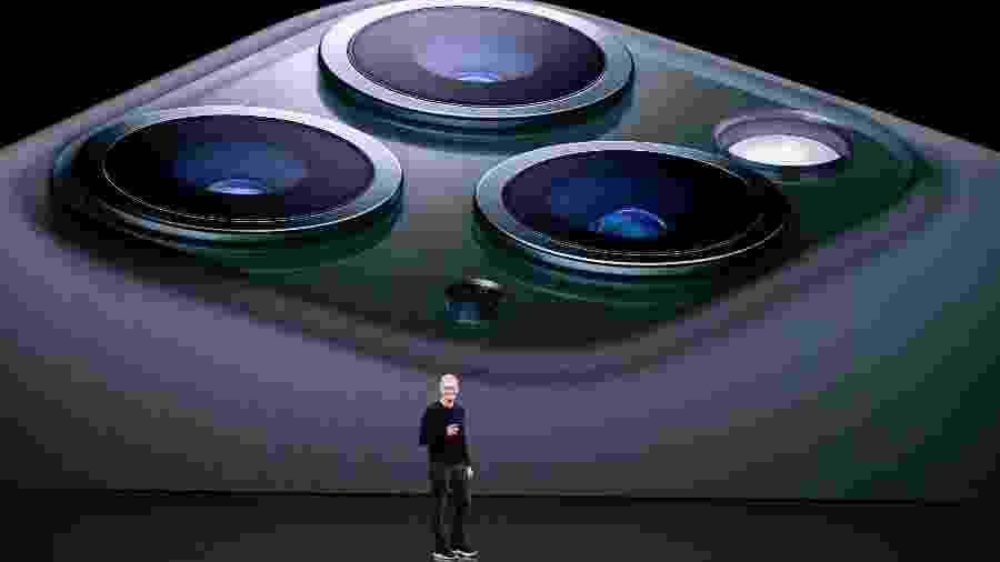 Tim Cook, CEO da Apple, durante apresentação do iPhone 11 Pro - Josh Edelson/AFP