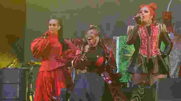 27.set.2019 - Linn da Quebrada, Karol Conka e Gloria Groove em show no Rock in Rio - Marcelo Sá Barretto/Brasil News - Marcelo Sá Barretto/Brasil News
