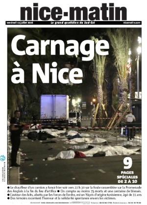 14.jul.2016 - Um caminhão atropelou uma multidão durante celebração da Queda da Bastilha, maior feriado nacional francês, no centro de Nice, na Riviera Francesa