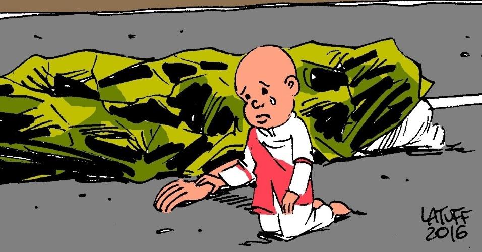 15.jul.2016 - Cartoon tocante de Carlos Latuff representando a tragédia de Nice foi bastante compartilhada nas redes sociais