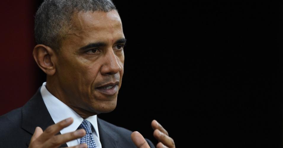 20.nov.2016 - Barack Obama fala durante coletiva de imprensa no último dia da Cúpula de Líderes do Fórum de Cooperação Econômica Ásia-Pacífico (Apec), em Lima, no Peru