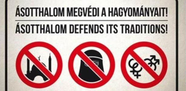 'Ásotthalom defende suas tradições': placas mostram que muçulmanos e gays não são bem-vindos na cidade húngara