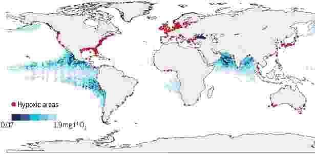 Oxigênio e oceanos - R. Diaz/GO2NE/World Ocean Atlas 2009 - R. Diaz/GO2NE/World Ocean Atlas 2009