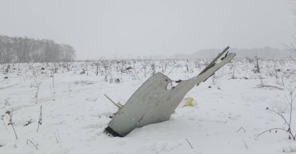 11.fev.2018 - Destroços do avião da companhia Saratov Airlines que caiu na região de Moscou neste domingo (11). O avião, um bimotor russo Antonov AN-148, levava 71 pessoas --65 passageiros e 6 tripulantes
