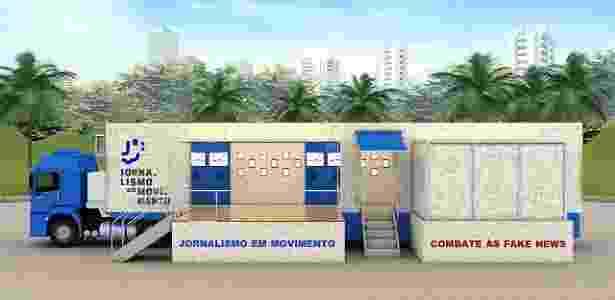 """Carreta do projeto itinerante de combate a fake news """"Jornalismo em Movimento"""" - Divulgação"""