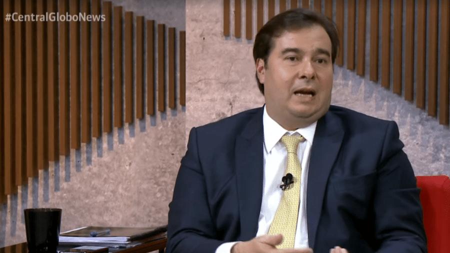 25.abr.2019 - Rodrigo Maia dá entrevista ao Central GloboNews - Reprodução/GloboNews