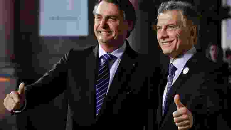 Presidente Jair Bolsonaro cumprimenta o Presidente da Argentina, Mauricio Macri, durante a Cúpula do Mercosul em Santa Fé - Presidência argentina