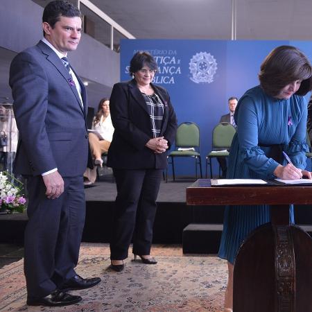 Em agosto, Sergio Moro, Damares Alves e Raquel Dodge assinaram o Pacto Nacional pela implementação de políticas públicas de prevenção e combate à violência - Isaac Amorim - 07.ago.2019/MJSP