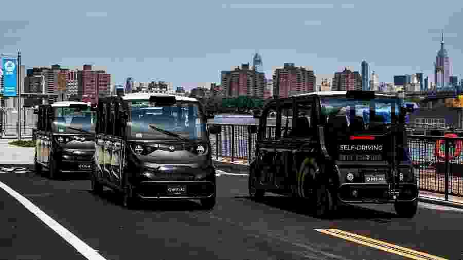 Autônomas, veículos da Optimus Ride começaram a operar hoje em um parque industrial de Nova York - JEENAH MOON / REUTERS