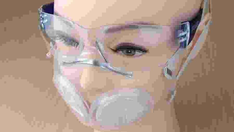 Máscara é feita de silicone e tem entrada para dois filtros - Divulgação/MIT