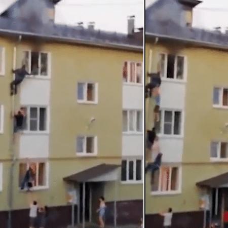 Homens escalam cano de esgoto para chegar ao 3º andar e salvar crianças de incêndio  - Reprodução/ Twitter