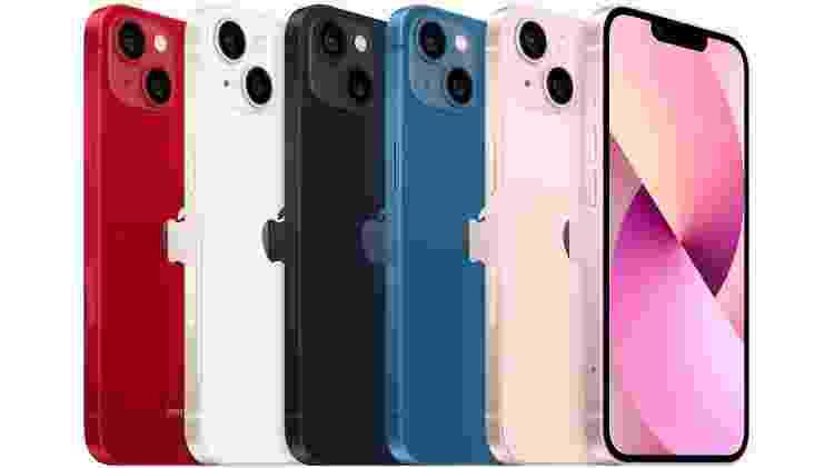 IPhone 13 e iPhone 13 mini em cinco cores - Divulgação/ Apple - Divulgação/ Apple