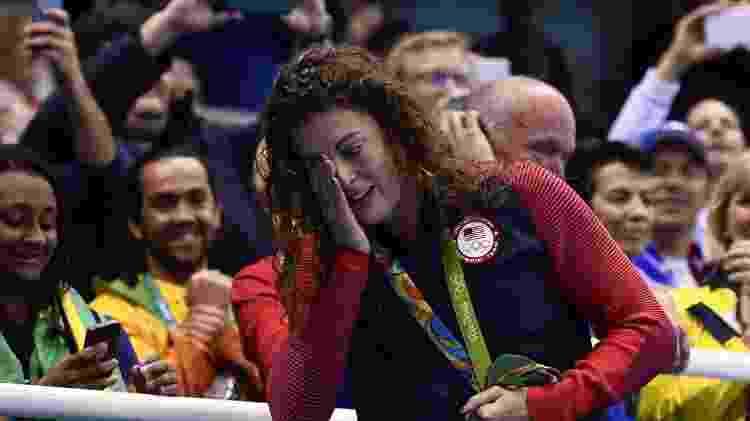 Allison Schmitt se emociona em cerimônia de premiação no Rio - Martin BUREAU/AFP - Martin BUREAU/AFP