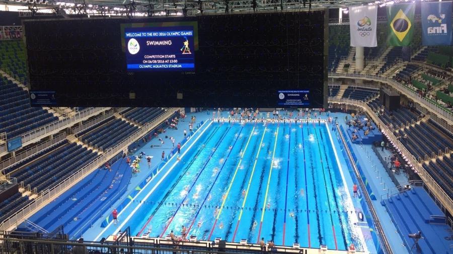 Visão de arquibancada do Estádio Aquático Rio-2016 - UOL