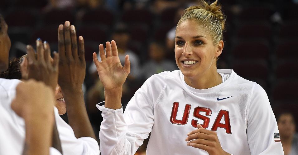 Elena Delle Donne, jogadora de basquete, atuando pela seleção dos EUA