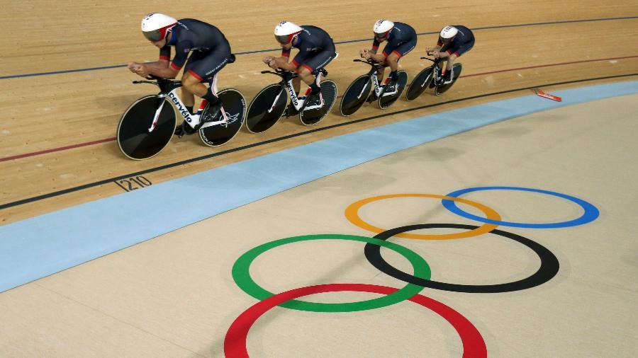 Equipe britânica de ciclismo no velódromo dos Jogos Olímpicos de 2016, no Rio de Janeiro - Matthew Childs/Reuters