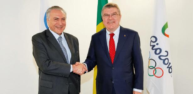O presidente interino, Michel Temer, com o presidente do Comitê Olímpico, Thomas Bach - Divulgação/Palácio do Planalto