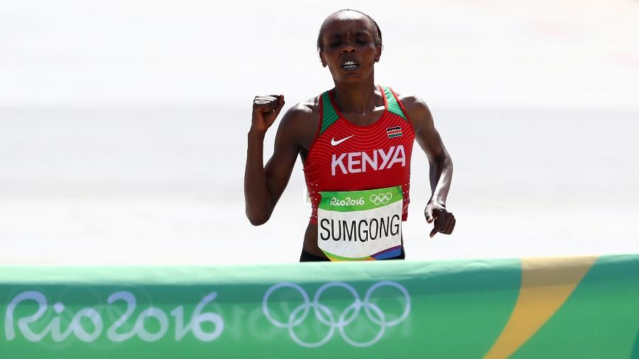 Jemima Sumgong, campeã da maratona feminina na Rio-2016 - A. Hassenstein/Getty Images