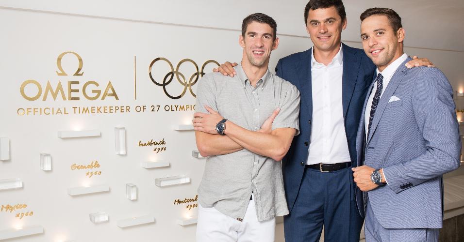 Michael Phelps, Alexander Popov e Chad Le Clos no evento Swimming Legends