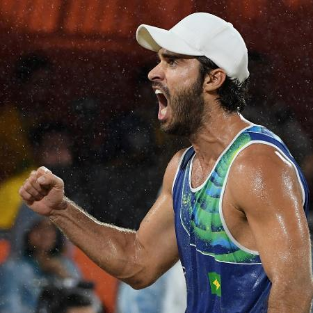 Bruno Schmidt comemora ponto do Brasil na Olimpíada de 2016 - Quinn Rooney/Getty Images