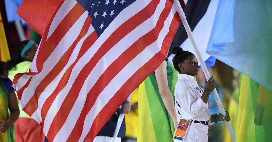 A ginasta norte-americana Simone Biles foi um dos destaques dos Jogos Olímpicos. Ela levou quatro ouros e um bronze