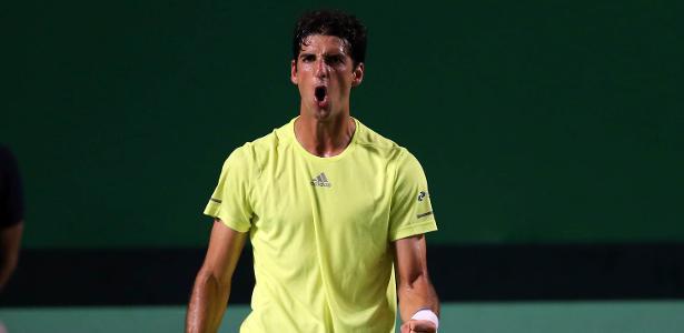 Thomaz Bellucci em ação na Copa Davis - Cristiano Andujar/CBT